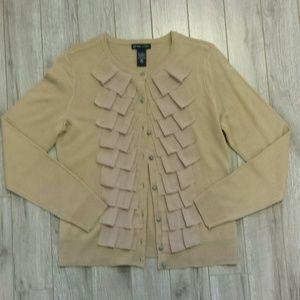 New York & Company front ruffle cardigan sweater
